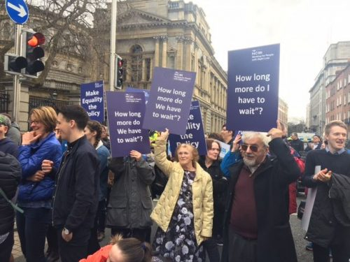 NCBI protesters at the march for ratifying UNCRPD