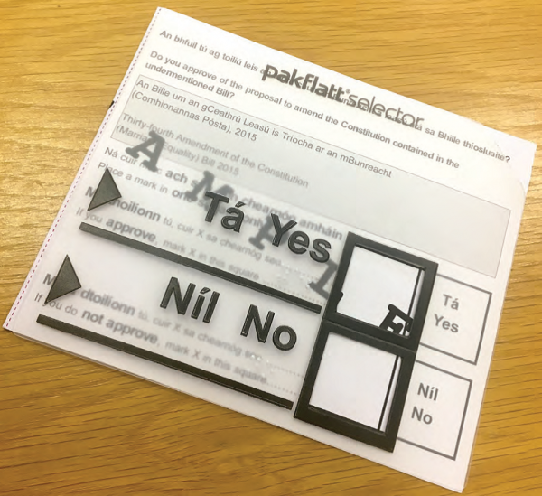 Tactile Ballot Paper Templates Available at Next Referendum