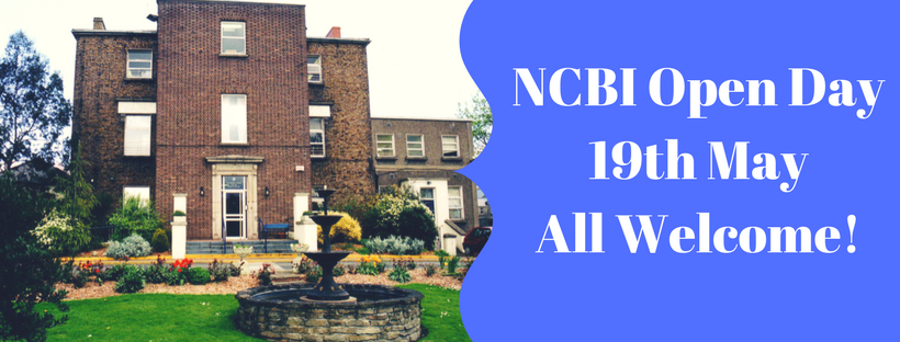 Image of NCBI Head Office with text: NCBI Open day 19th May All Welcome!