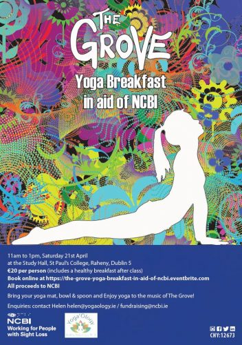 Poster for Yoga Breakfast on Saturday 21st April from 11am to 1pm at the Study Hall , St Paul's College , Raheny