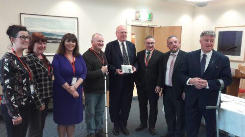 Photo is of Niamh Connolly, Fiona Kelty and Sally McEllistrim NCBI with Robbie Sinnott, Senator Michael McDowell, Chris White CEO NCBI, Senator Gerry Buttimr and Senator Joh Dolan at Leinster House .