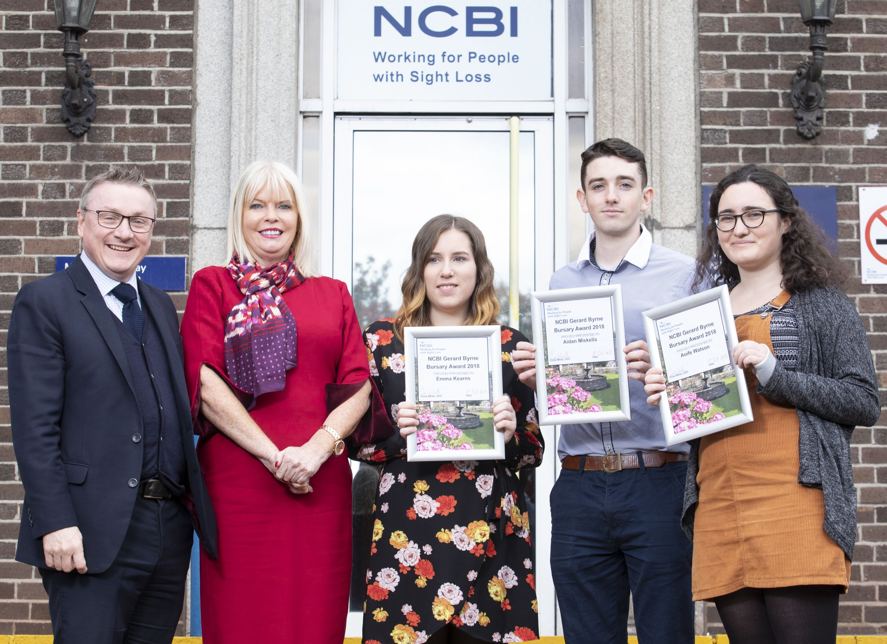 NCBI Group CEO Chris White, with Minister of State for Higher Education, Mary Mitchell O'Connor TD and 2018 Bursary Awardees Emma Kearns, Aidan Miskella, and Aoife Watson, Photographer - Paul Sherwood paul@sherwood.ie 087 230 9096 NCBI, presentation of Gerard Byrne Bursary Awards. October 2018
