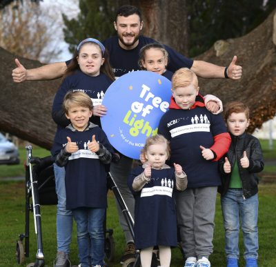 26th November 2018. Robbie Henshaw along with Chloe, Josh and Dylan Farrell, Amy and Julie McNally and Bo Ryan at a Photocall to launch NCBI Tree of Light www.treeoflight.ie Photo: Justin Farrelly / Paul Sherwood Photography