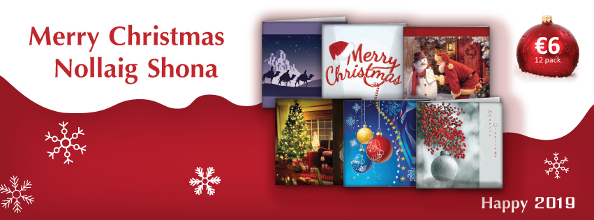 *image of banner with NCBI logo and images of Christmas cards and the following text: 'Merry Christmas, Nollaig Shona'