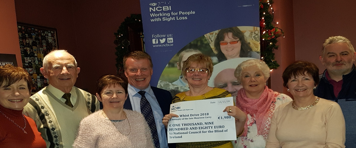 Pictured at the presentation event are members of Maureen's family including L to R: Irene O'Neill, Noel Matthews, Helen McCabe, Joe McKenna (NCBI), Nora Matthews, Mary Clifford, Joan Murray & Ciaran Carry.