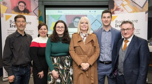 Minister Mary Mitchell O'Connor TD, pictured with Ivan O'Brien (O'Brien Press), Lisa Wadors (Benetech), Aoife Watson (recent graduate), Aaron Mullaniff (NCBI) and Chris White (NCBI CEO)