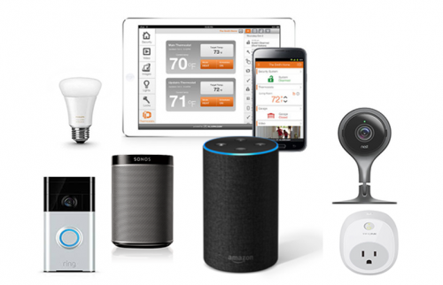 Image of different devices, like tablet, smartphone, smart lamps etc.