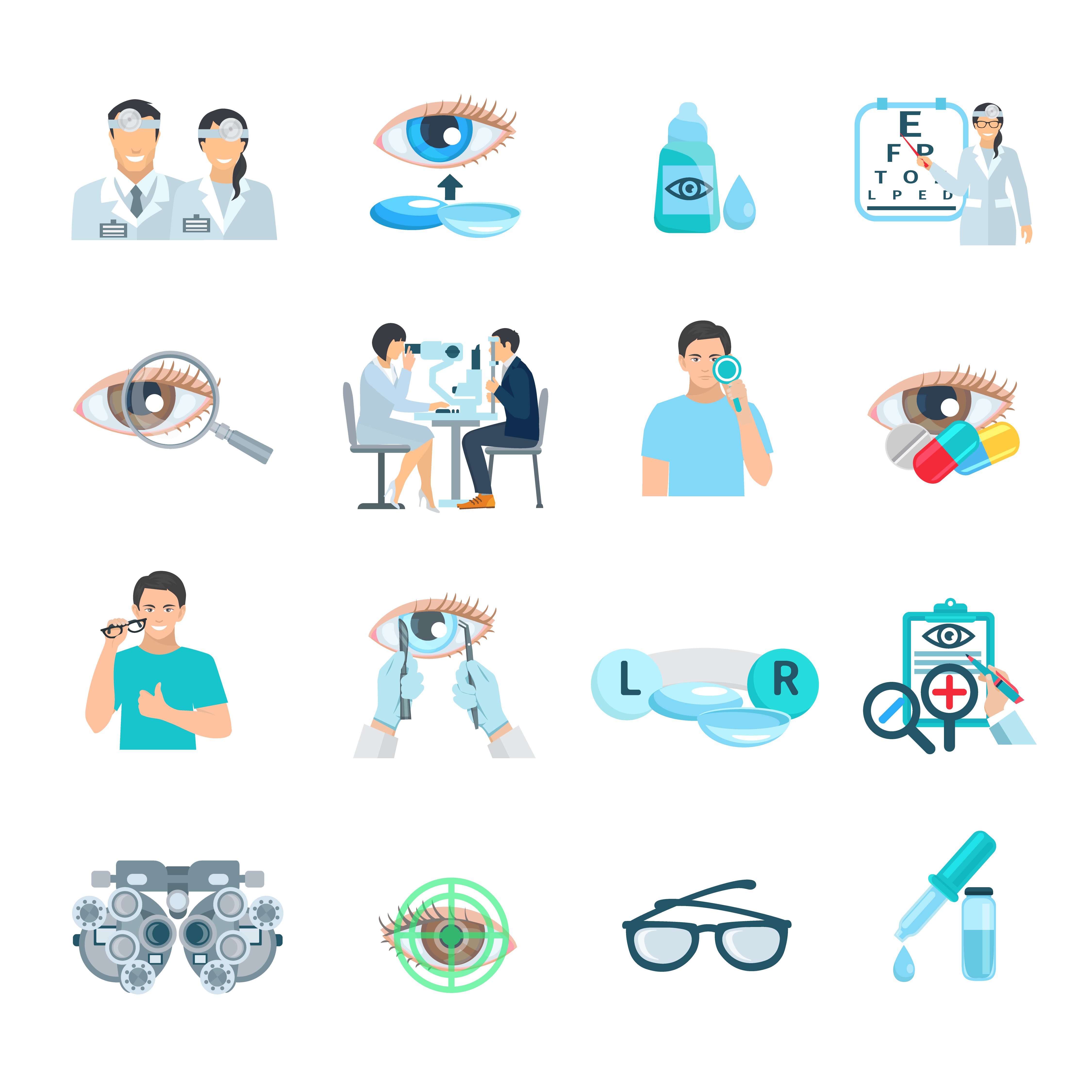 Ophthalmologist vision correction clinic flat icons set with eye symbol abstract isolated  vector illustration