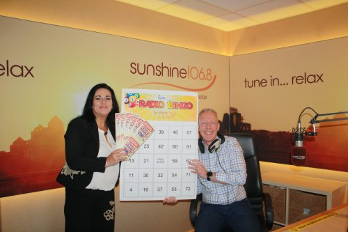Sunshine 106.8 presenter Robbie Fogerty with NCBI Fundraiser Sharon Fallon - Radio Bingo