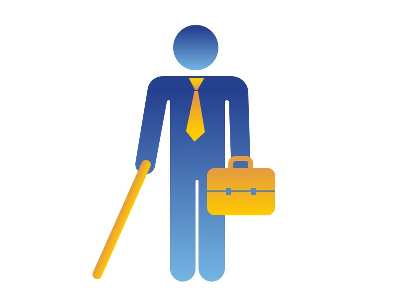 Image of person wearing a tie, holding cane and briefcase