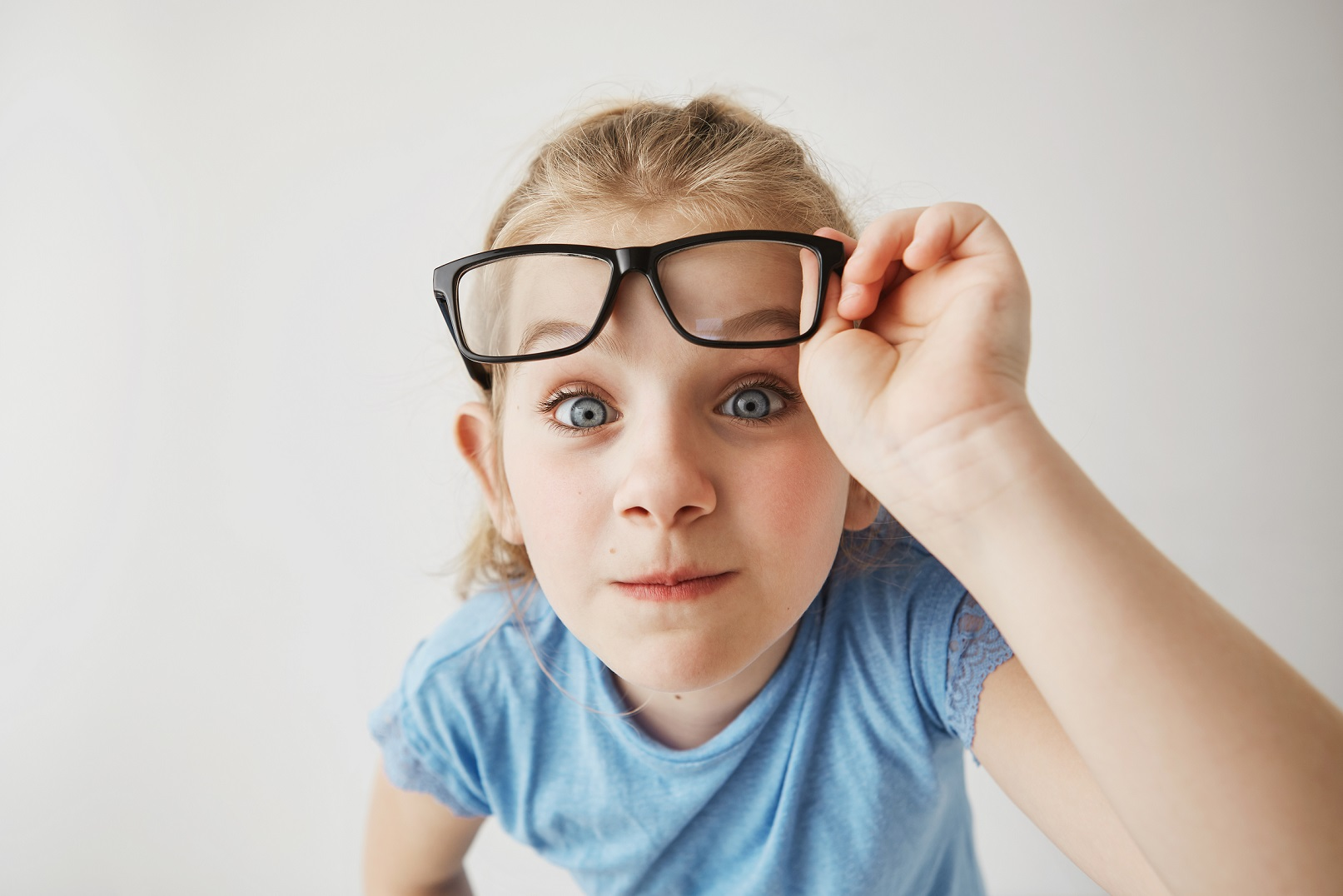 A child with glasses