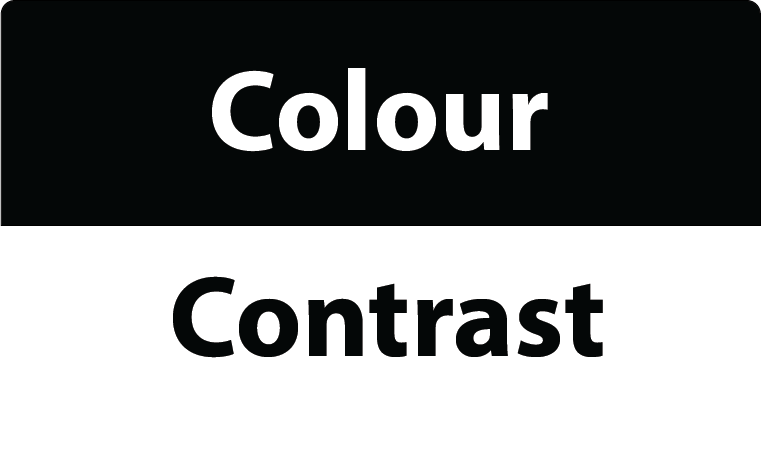 Words colour contrast in different colours
