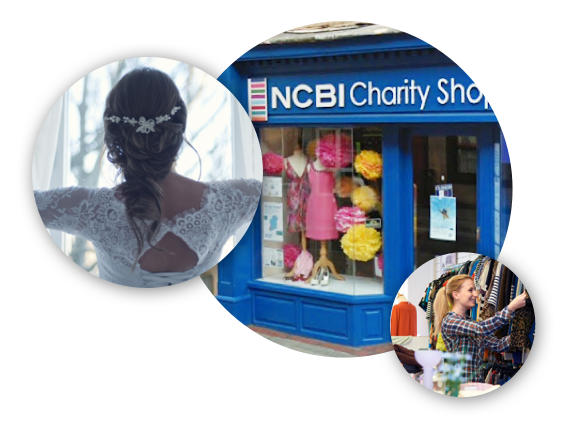 3 images depicting bridal wear, NCBI shop front and lady browsing fashion.