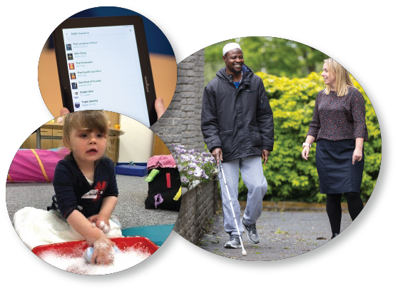 3 images depicting young child with visual impairment, adult using ipad and adult undergoing long cane training