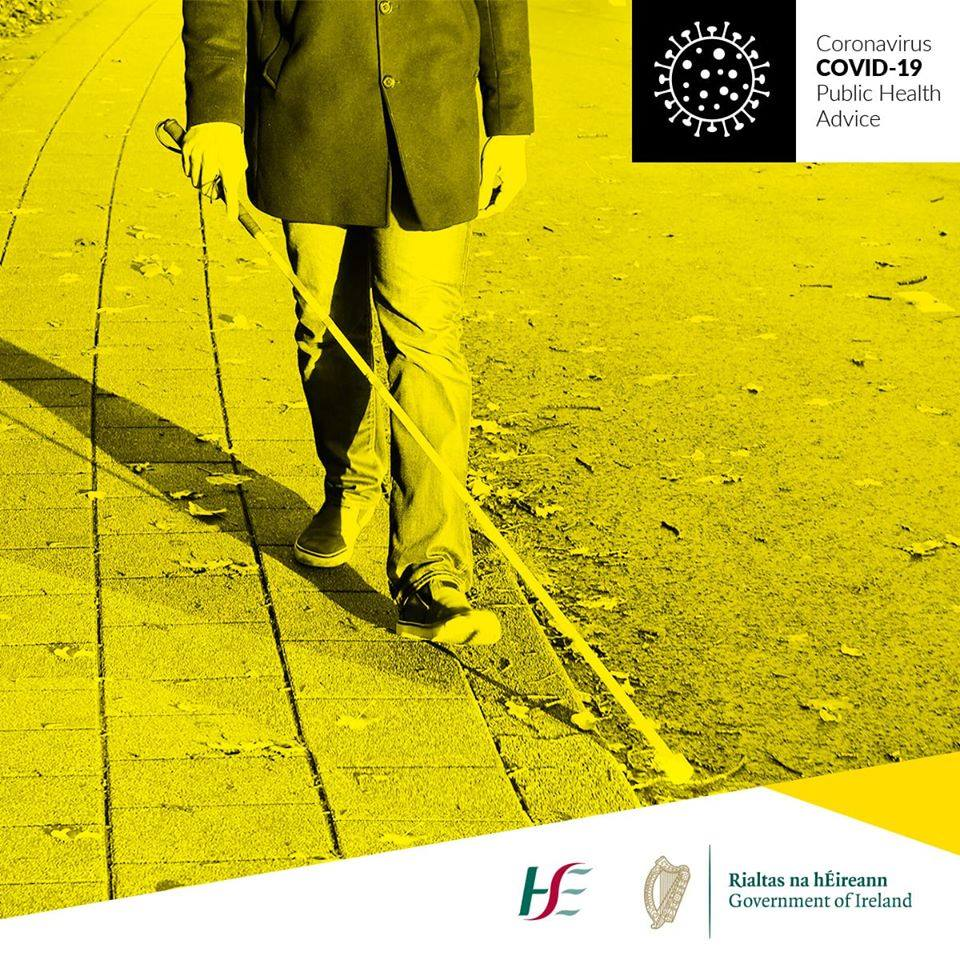 Covid-19 Public Health Advice poster image of someone walking with a white cane