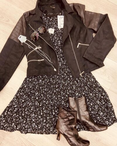 NCBI outfit: Black letter jacket and a black dress with a pair of black boots
