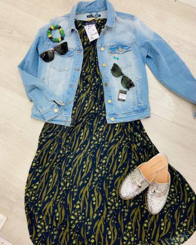 NCBi outift: denim jacket, two sun glasses and a beautiful dress