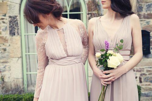 the women wearing beatiful dresses