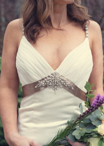 Photo of a bride holding a bouquet