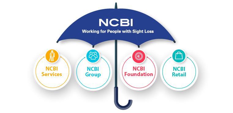Image of umbrella with NCBI Services, NCBI Group, NCBI Foundation & NCBI Retail within it.