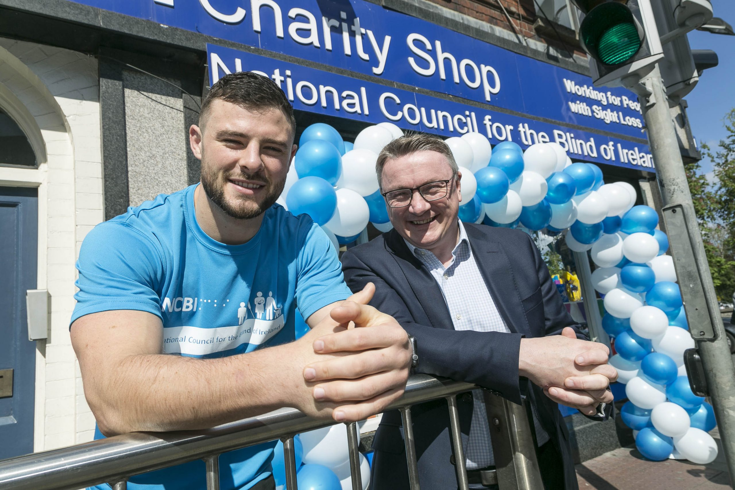 Robbie Henshaw and Chris White CEO of NCBI, At official opening of the Rathmines Shop