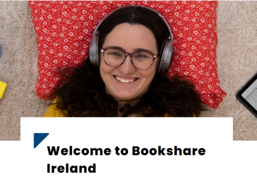 Photo of a girl using a head phone, written Welcome to bookshare Ireland