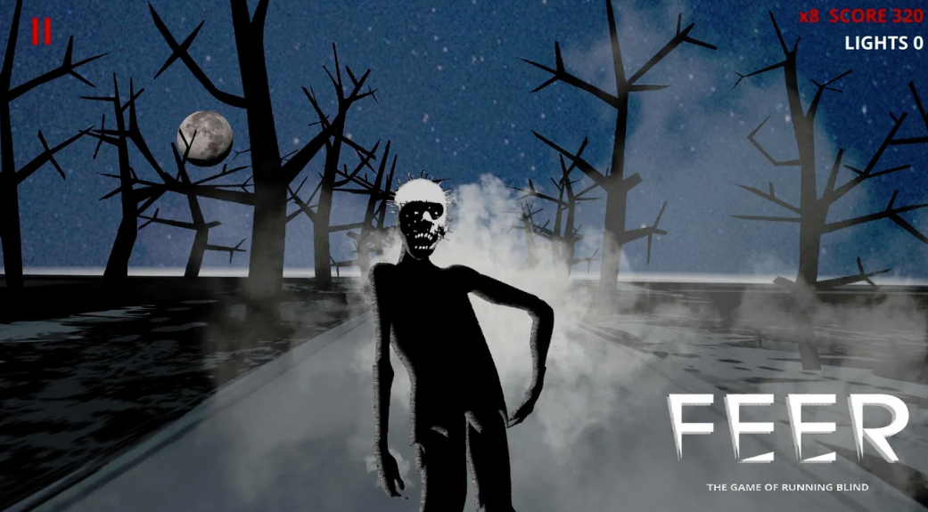 Image of the Feer game screen sowing a Zombie appearing from the fog on a deserted road