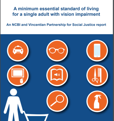 Minimum essential standar of living for a single adult with vision impairment Cover image