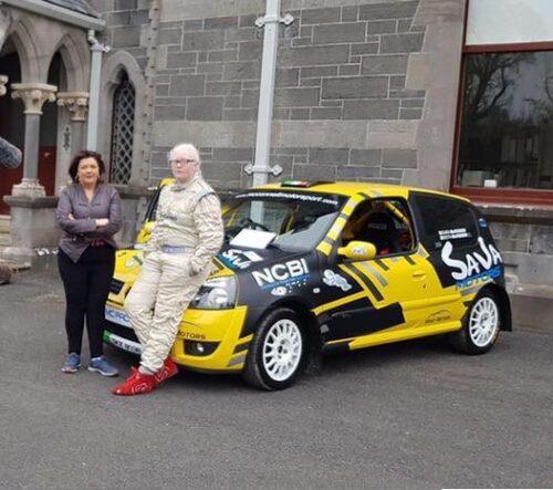 Photo of Sara McFadden and her rally car