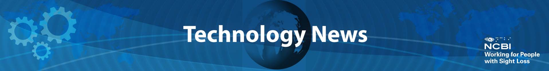 """Image of Banner with text """"Technology New"""" with a picture of a globe in the background"""