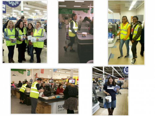 Collage of five images of people at NCBI Tesco Bag packs