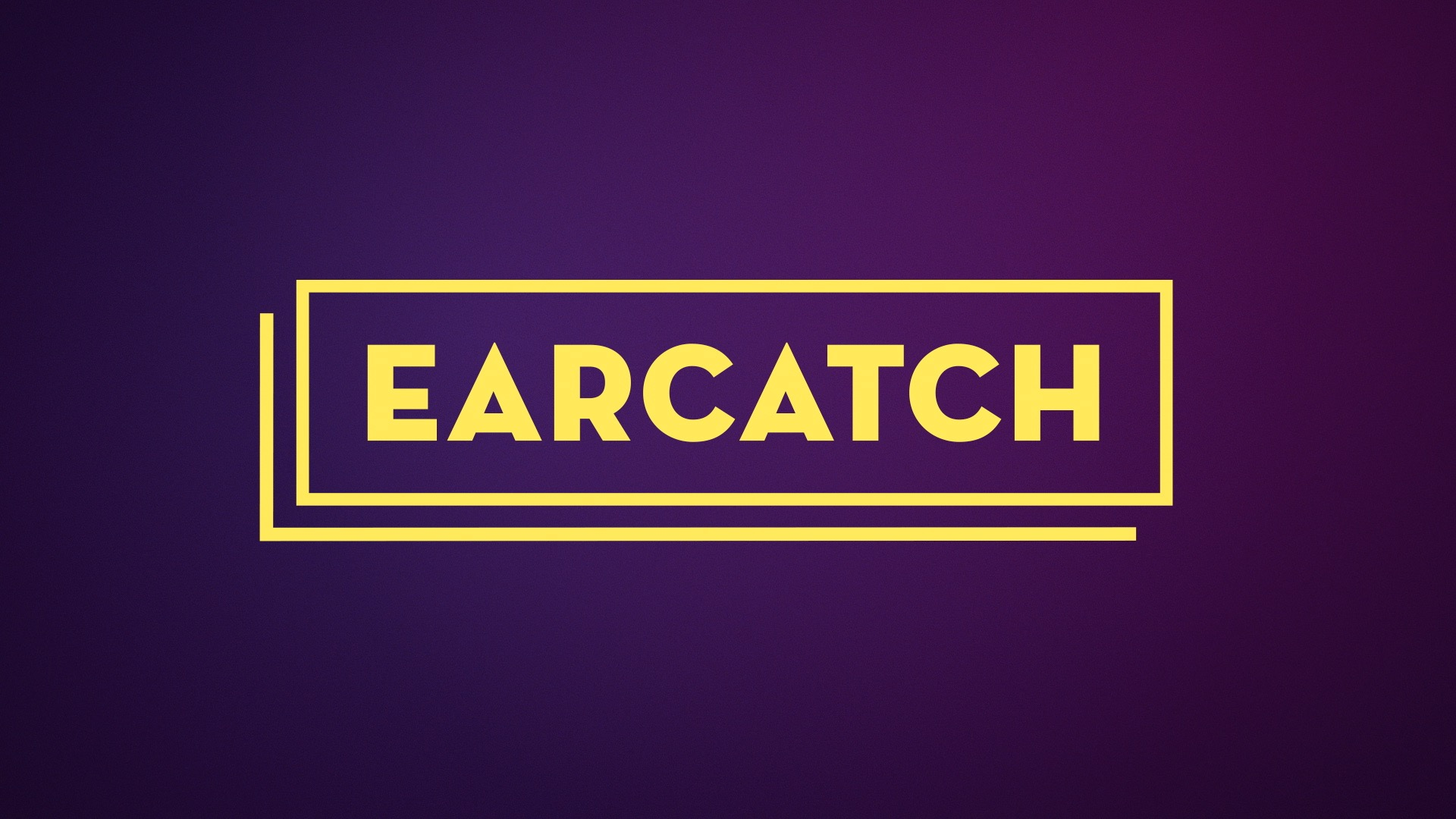Image: Earcatch logo, written in yellow in a purple background