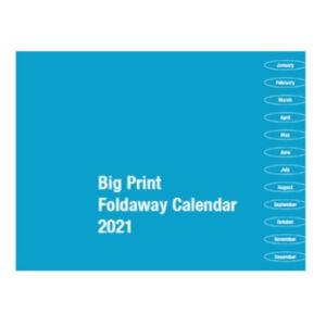 Large Print Fold Away Calendar