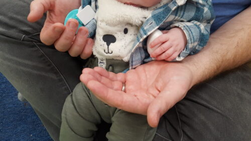 An adult holding the baby's hand