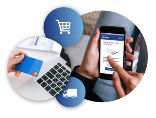 Hand holding a credit card, shopping cart icon, truck icon, and a person browsing through the NCBI online shop