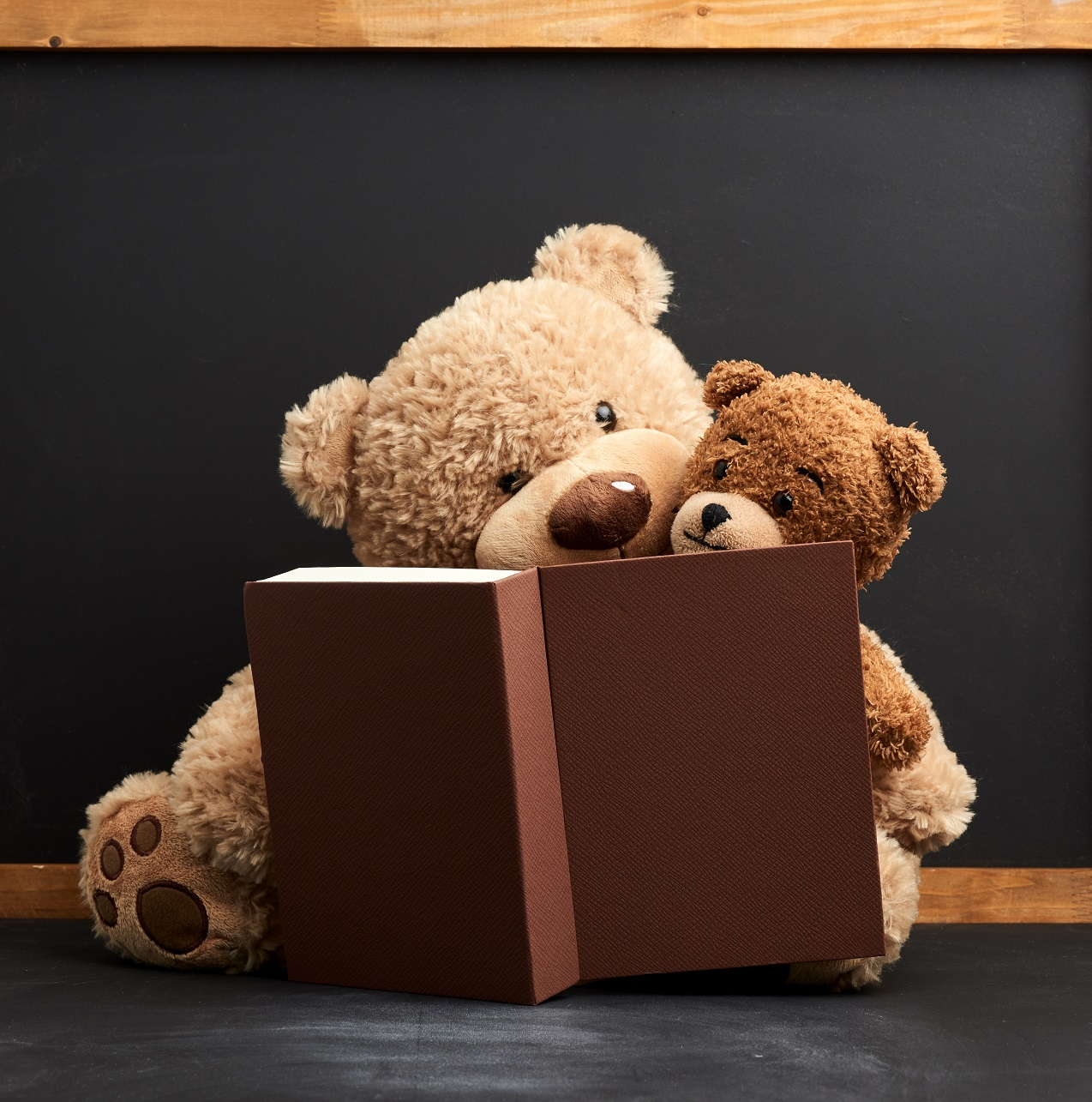 two brown teddy bears are sitting with a book on a black background