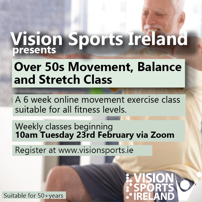 Vision Sports ireland, Over 50s MOvementt, Balance and strech Class