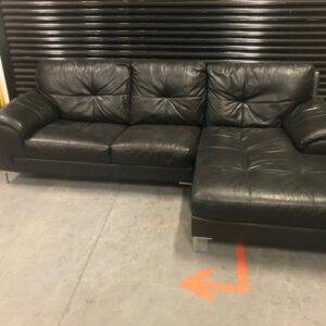 Black Leather Three Seater Sofa