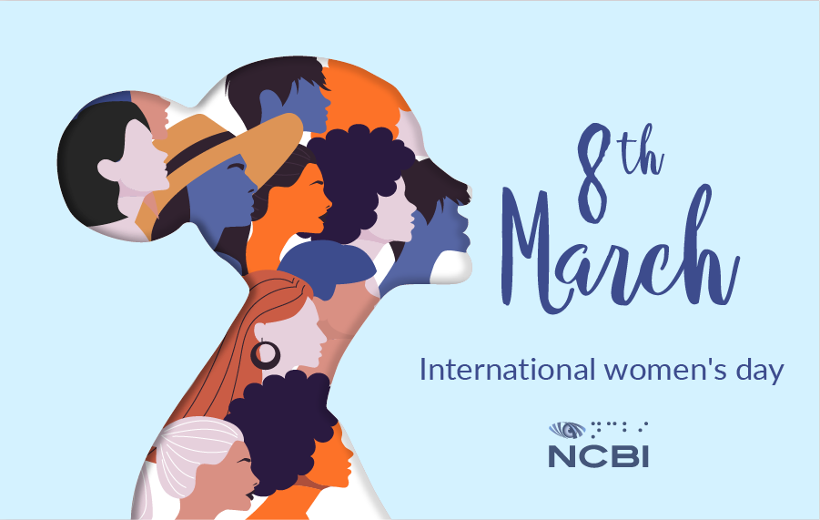 An drawing of a woman's silhouette with the silhouettes of different women drawn within it. text: 8th March international womens day and NCBI logo