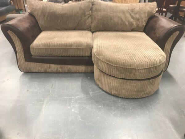 Brown fabric sofa