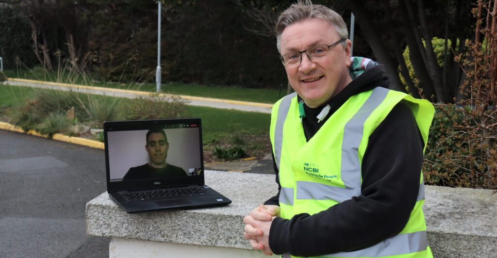 Photo of Chris white virtually meeting Jason Smyth