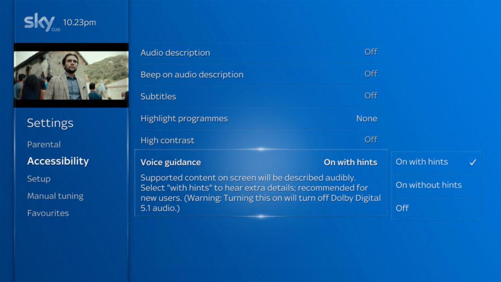 Sky Q Menu - with Screen Reader options