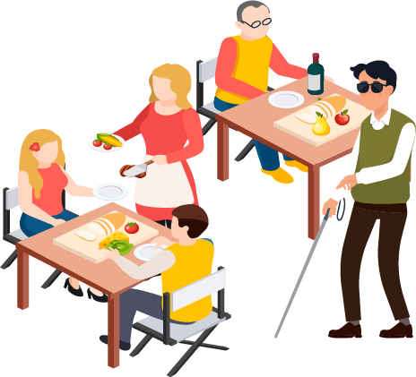 A blind person walk throught a outdoor dining