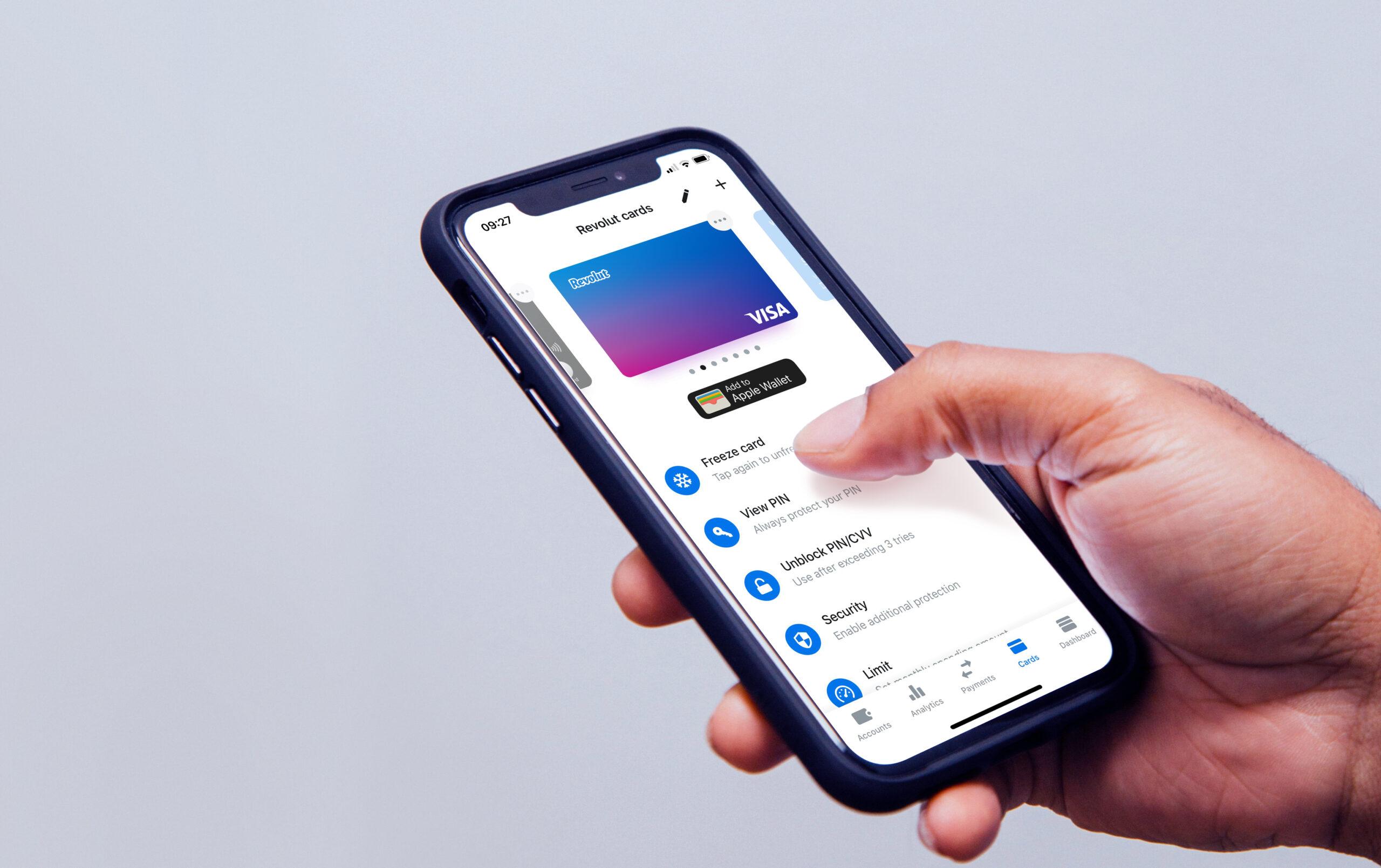 Mobile phone displaying Revolut app