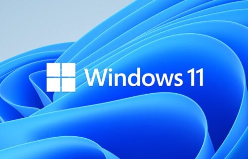 Windows 11 text and logo displayed on a computer screen