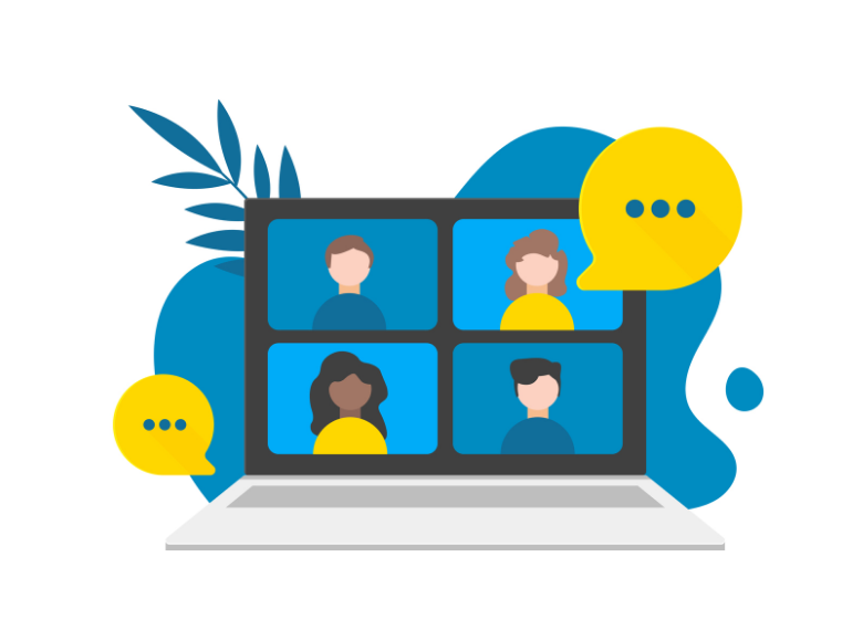 Illustration showing people in a zoom meeting