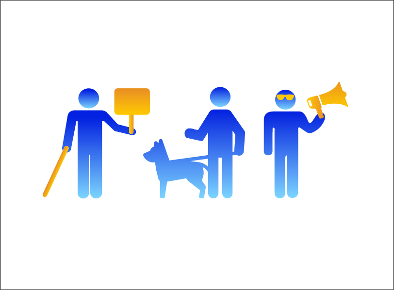blue person holding a long cane and a sign, another blue person with their guide dog, and a third blue person wearing glasses and holding a speaker
