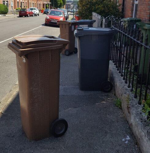 bins on footpath