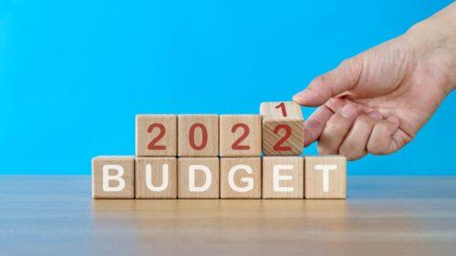 Building blocks saying budget 2022