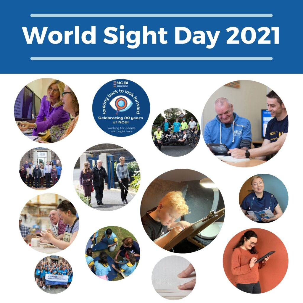 World Sight Day 2021 Images: of service users and staff in bubbles with the 90th celebration logo included